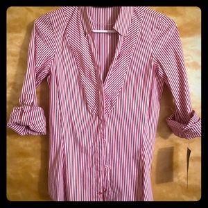 Zara NEW pinstripe red & white button down blouse.